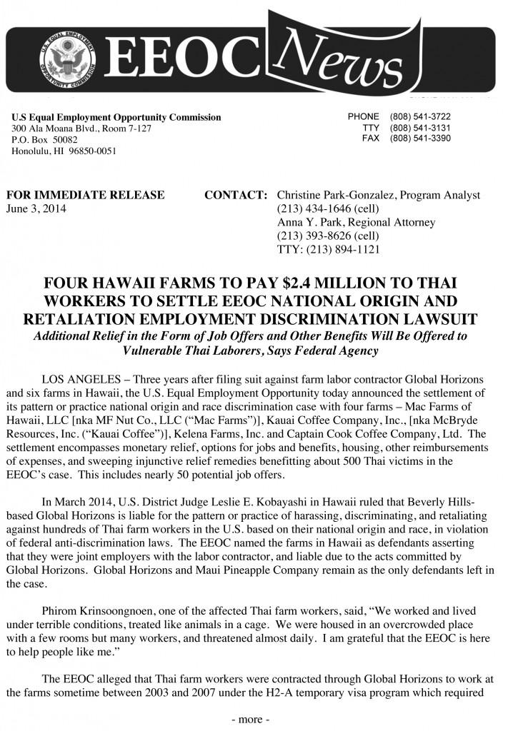 Microsoft Word - EEOC Press Release - HI Farms Settle - Final 6-